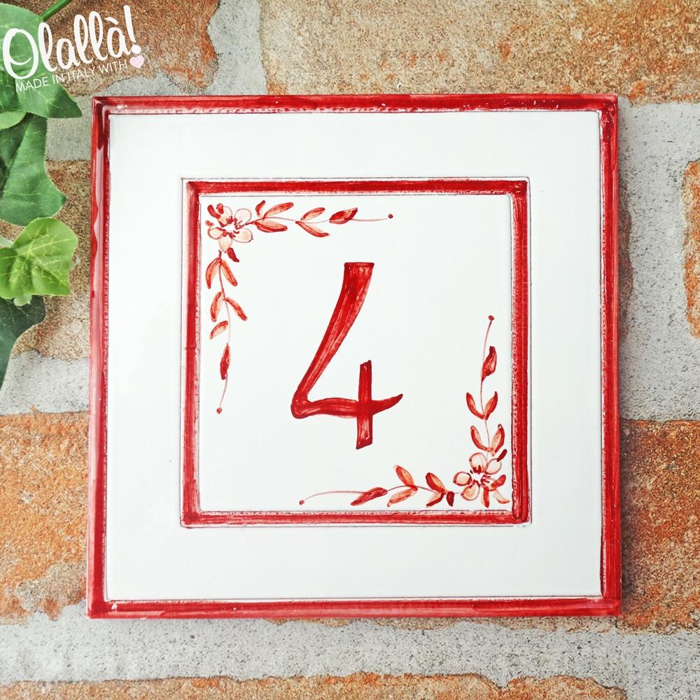 numero-civico-rosso-semplice-personalizzato-fiori-quadrato
