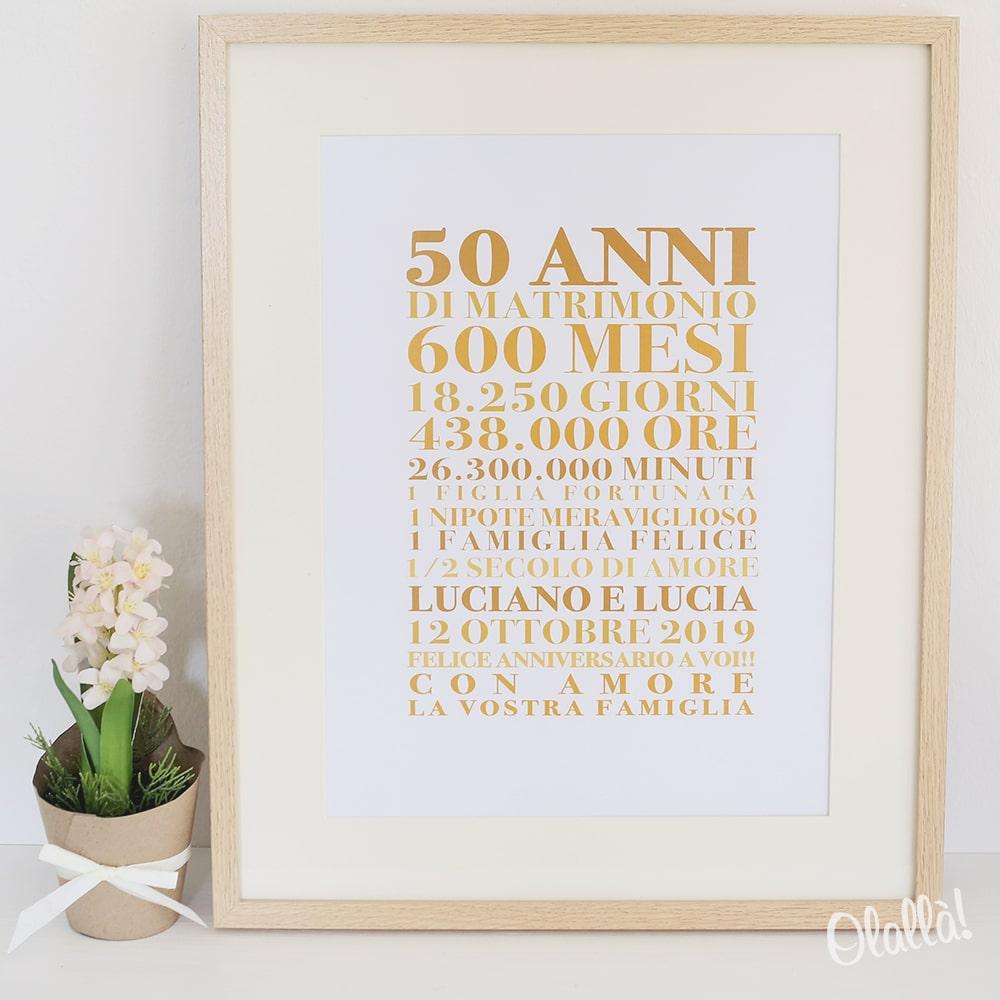 Anniversario Di Matrimonio Nozze Doro.Stampa Personalizzata Con Frasi Idea Regalo Nozze D Oro Olalla