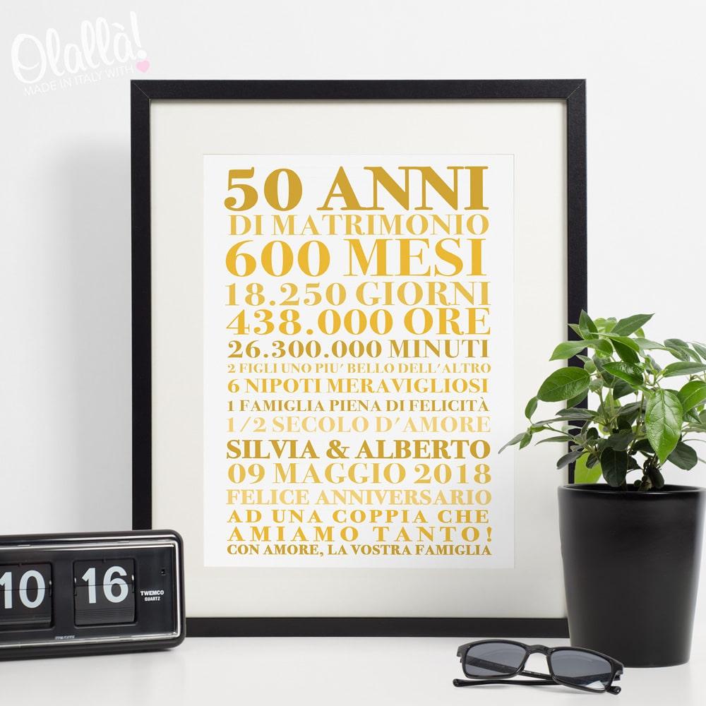 Stampa Personalizzata Con Frasi Idea Regalo Nozze D Oro Olalla