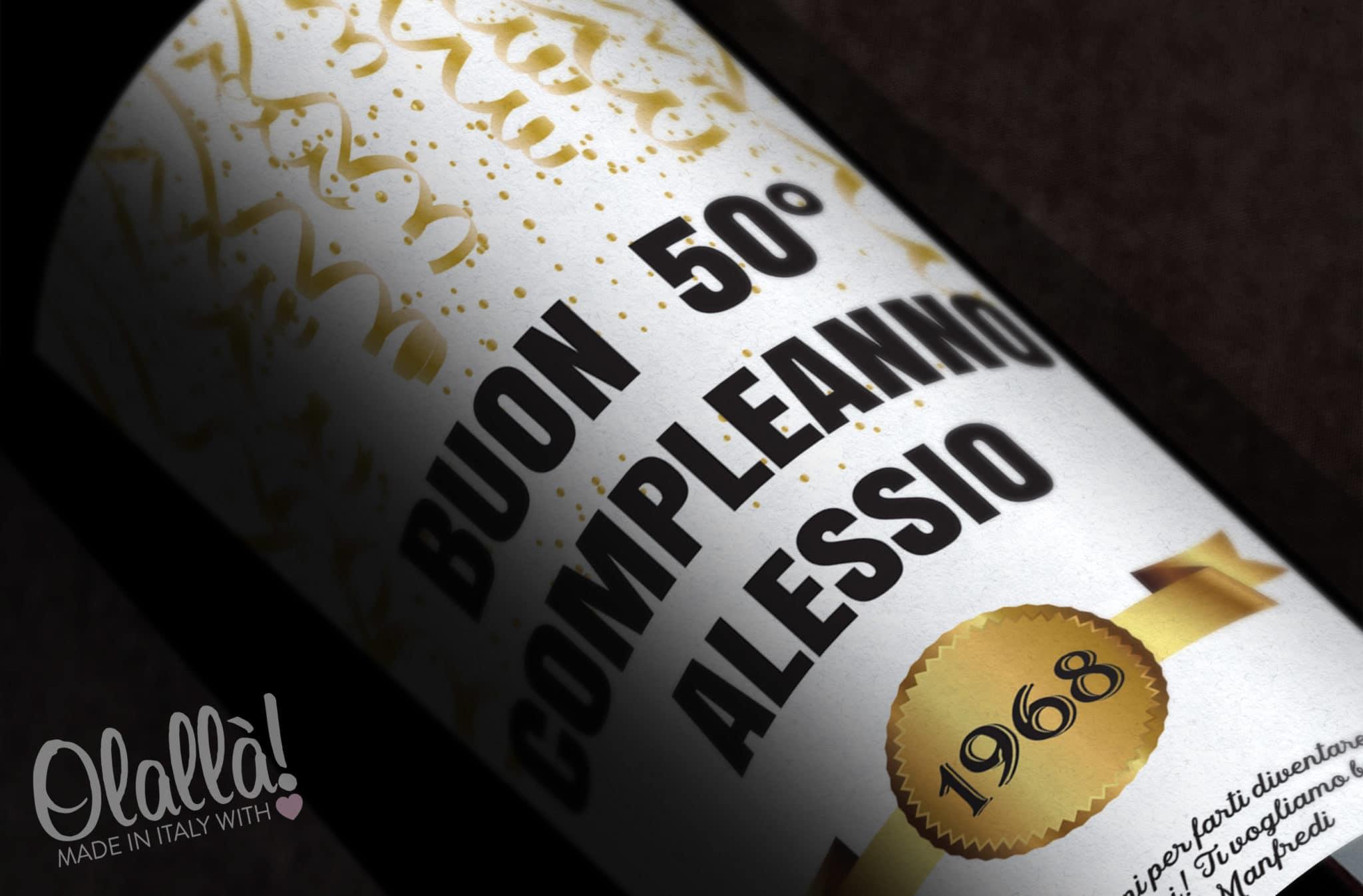 Bottiglia Di Vino Personalizzata Buon Compleanno Idea Regalo 50