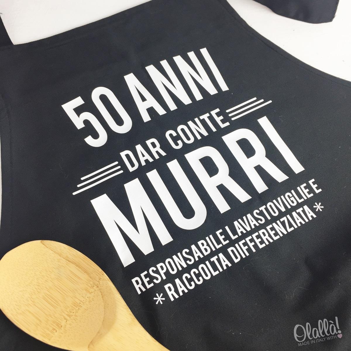 Grembiule da cucina stampato personalizzato idea regalo 50 anni olalla - Grembiule cucina personalizzato ...