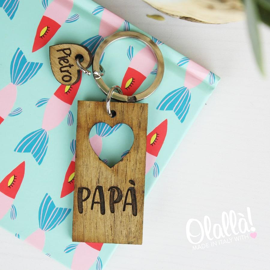 dd228c3162 Portachiavi in Legno Personalizzato con Cuore e Nome - Idea Regalo Festa  del Papà | Olalla