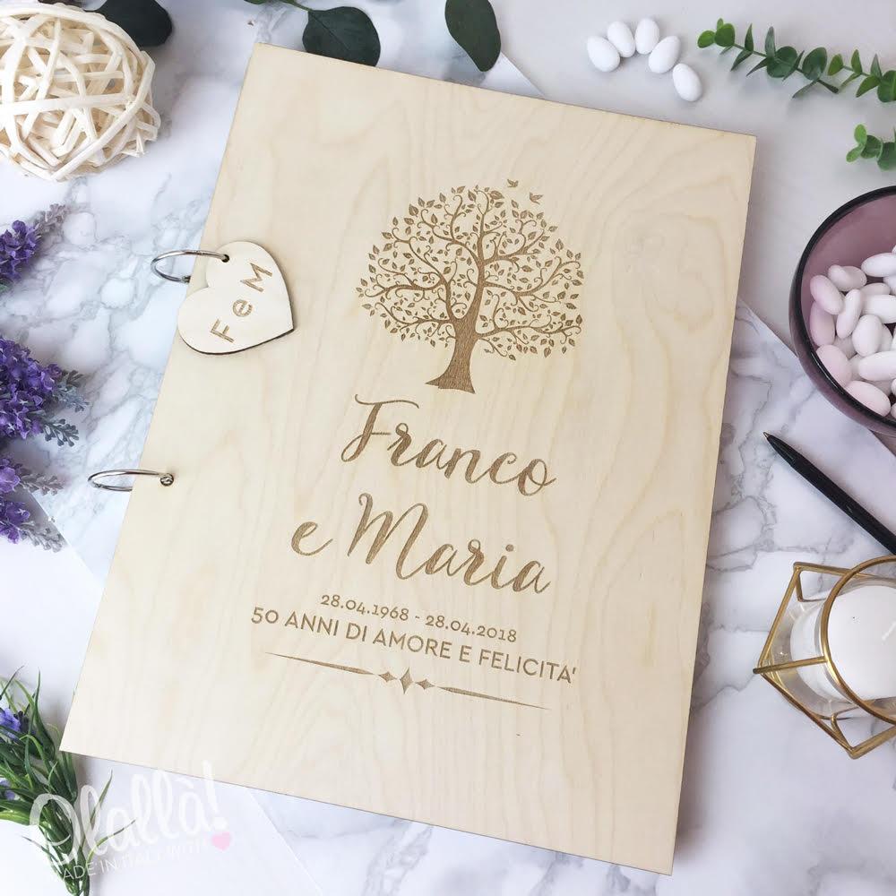 Guestbook in legno personalizzato con albero della vita e for Regali per anniversario di matrimonio