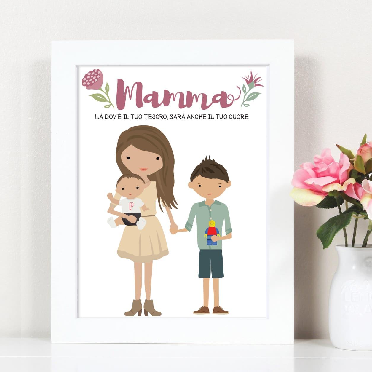ritratto-digitale-personalizzato-mamma-e-figli-idea-regalo-festa-della-mamma