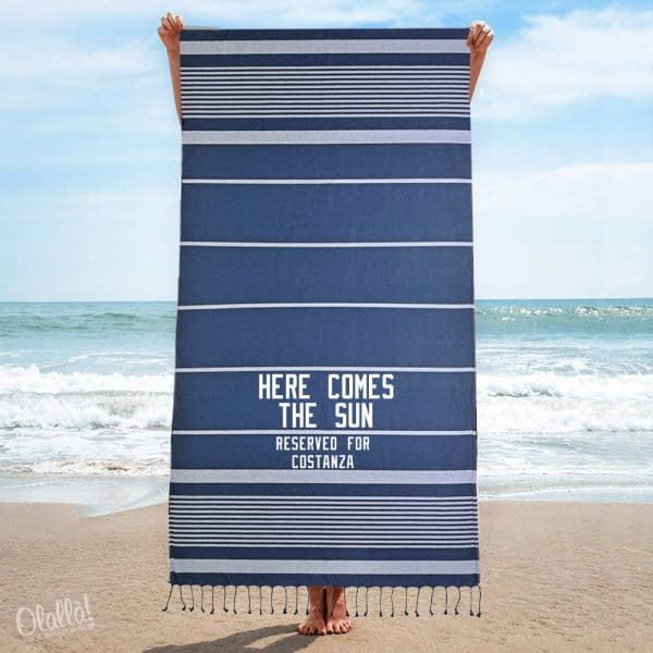 telo-mare-personalizzato-blu-frange-righe