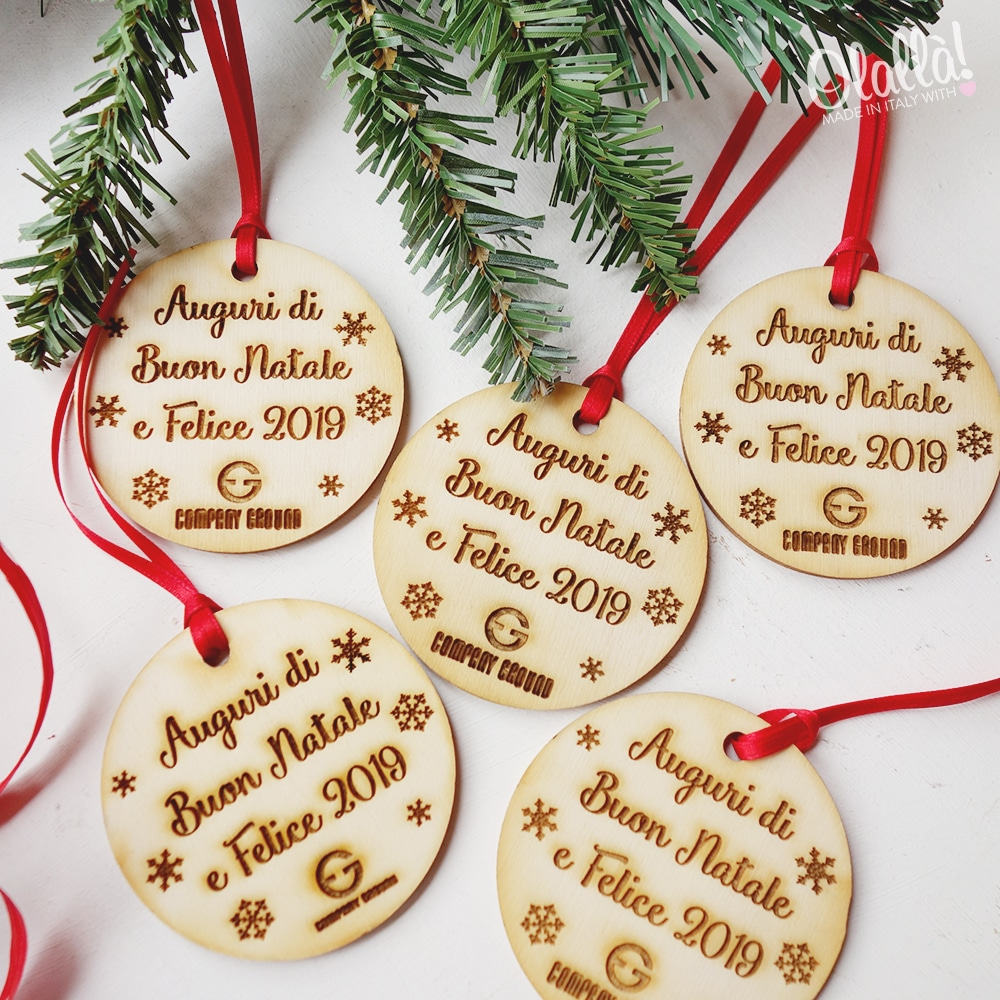 Auguri Di Buon Natale Ufficio.Decorazione Di Legno Per Albero Di Natale Con Nome E Logo Regalo