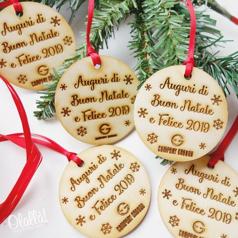 Decorazione Di Legno Per Albero Di Natale Con Nome E Logo