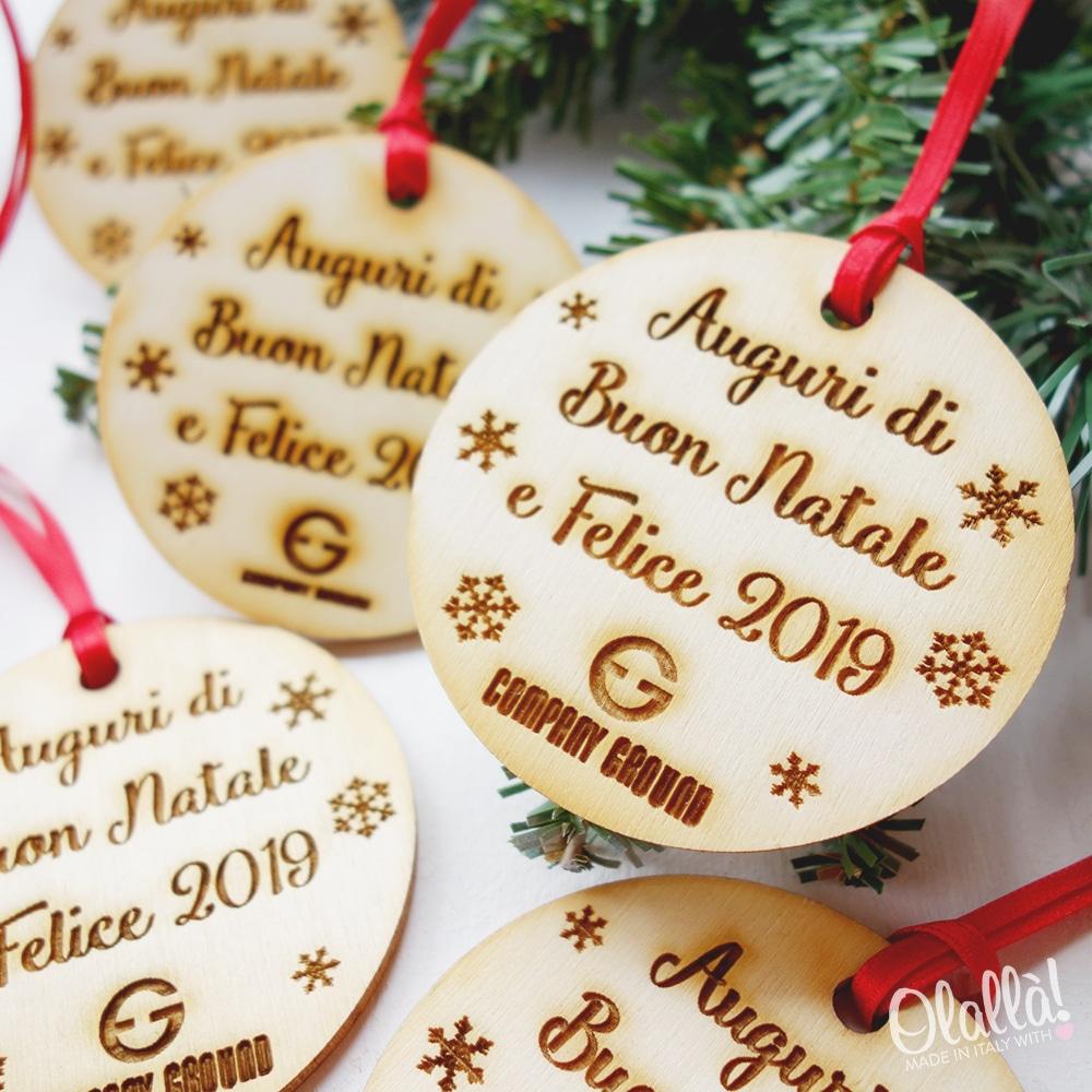 Regali Di Natale Aziendali Personalizzati.Decorazione Di Legno Per Albero Di Natale Con Nome E Logo Regalo