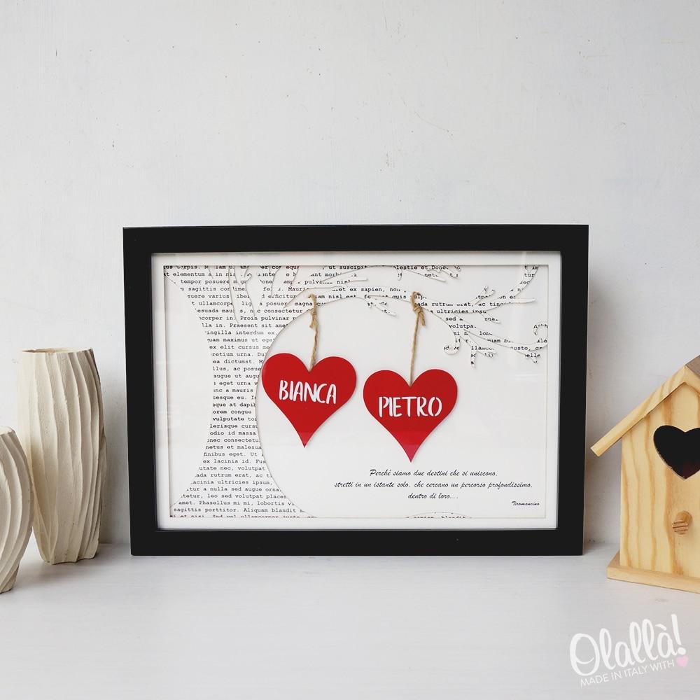 Idee Regalo Natale Coppia Amici.Quadretto Di Carta Intagliata Personalizzato Con Cuori Albero E Dedica Idea Regalo San Valentino Olalla