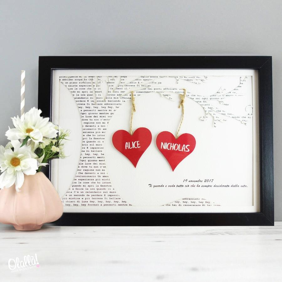 Quadretto Di Carta Intagliata Personalizzato Con Cuori Albero E Dedica Idea Regalo San Valentino Olalla