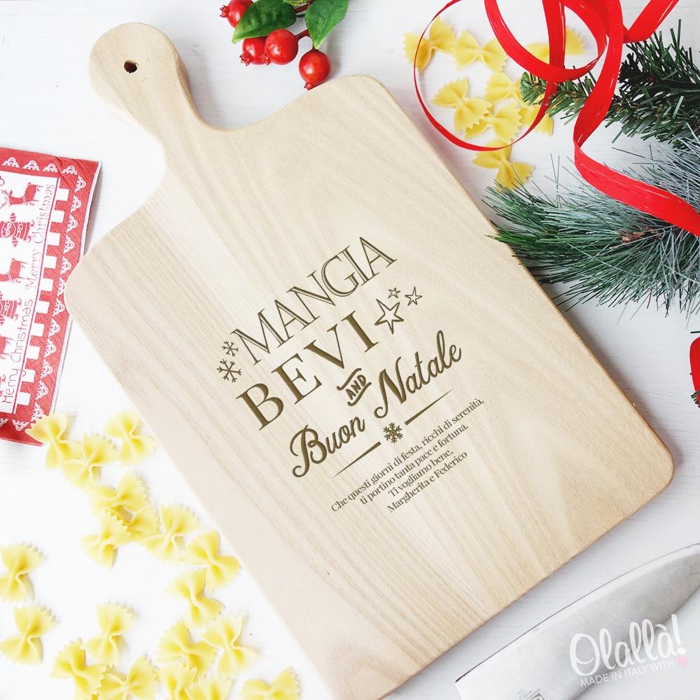 Idee Regalo Amici Natale.Tagliere Personalizzato Mangia Bevi And Buon Natale Idea Regalo Per Amici Olalla