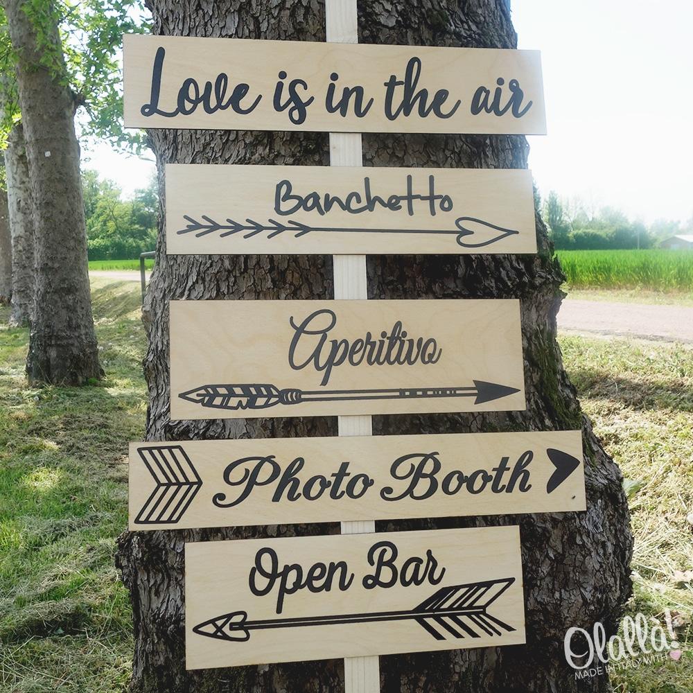 Insegna in legno con segnaletica idea decor matrimonio for Targhe decorative in legno