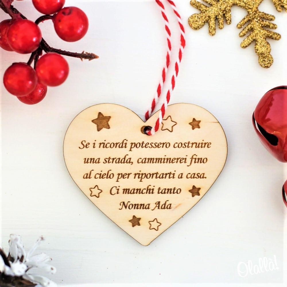Frasi Di Natale A Forma Di Albero.Addobbo Natalizio Cuore Con Frase Personalizzata Decorazione Da Appendere All Albero Di Natale Olalla