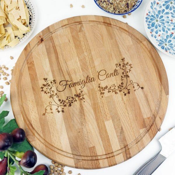 tagliere-personalizzato-decoro-foglie-nome-famiglia