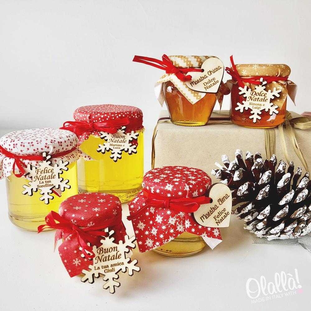Vasetti di Miele Natalizi con Tag in Legno Personalizzata | Olalla
