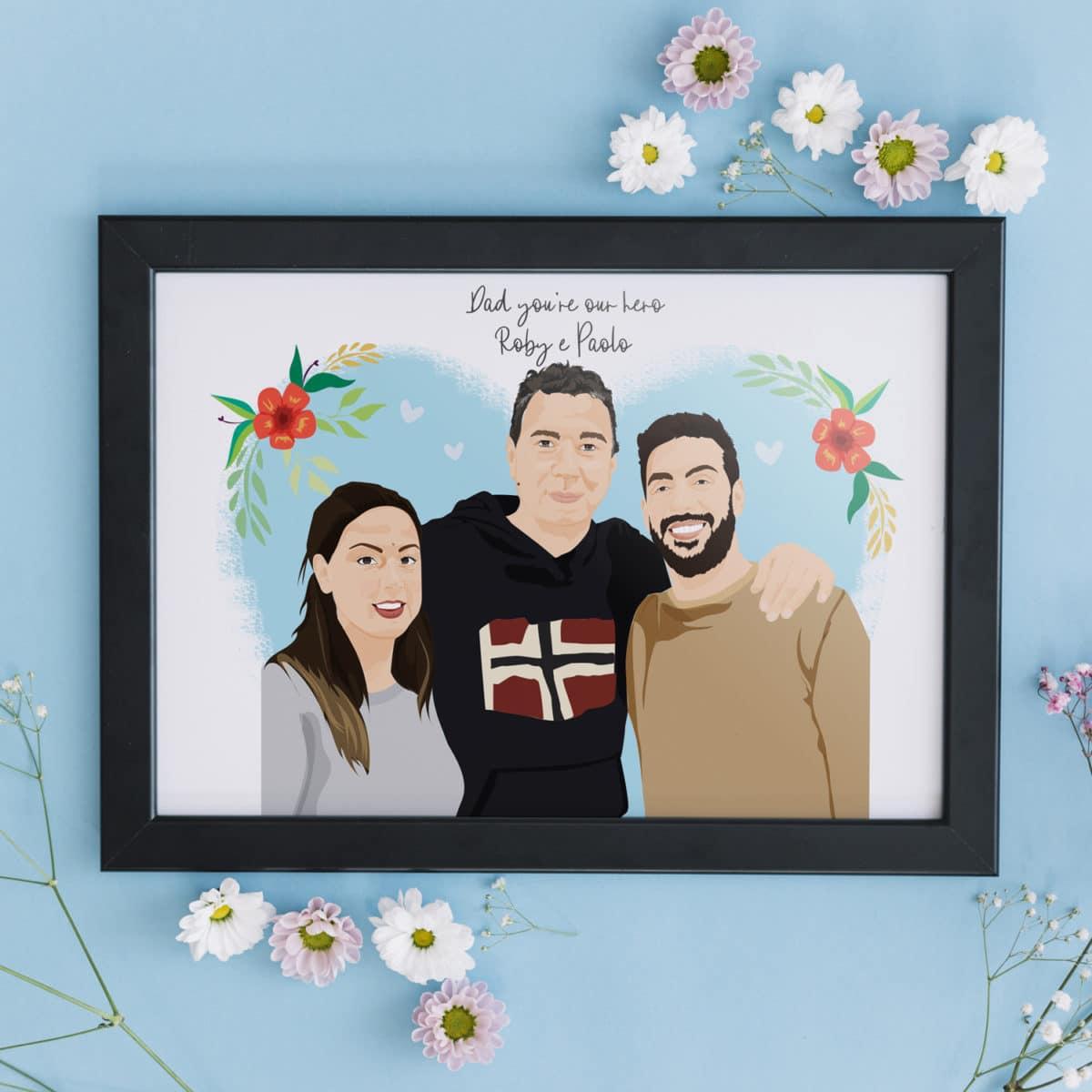 ritratto-personalizzato-famiglia-regalo-papa