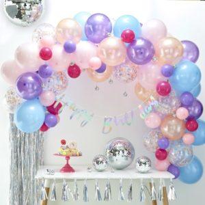 arco-palloncini-azzurri-battesimo-primo-compleanno-bambina
