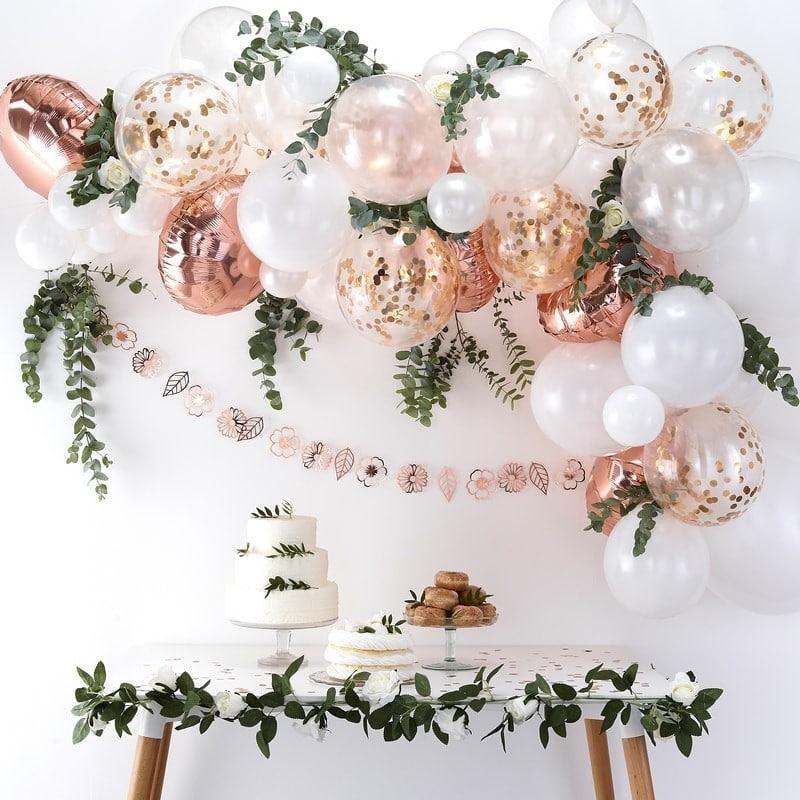 arco-palloncini-oro-rosa-matrimonio
