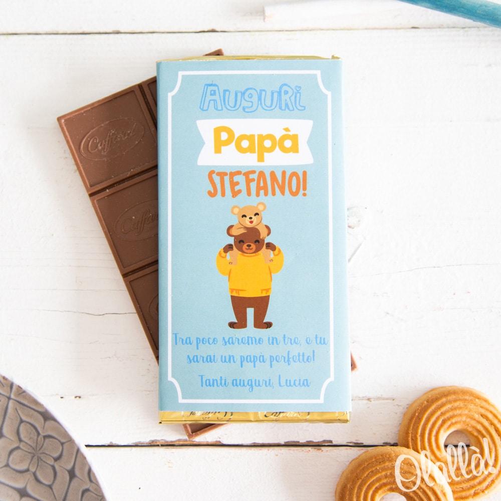 3ed2b68311 Barretta di Cioccolata Personalizzata con Papà Orso - Idea Regalo Festa del  Papà   Olalla