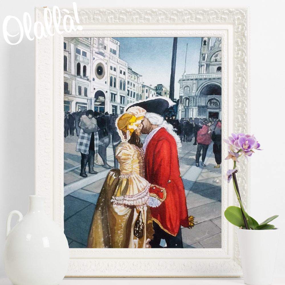ritratto-personalizzato-bacio-carnevale-acquerello