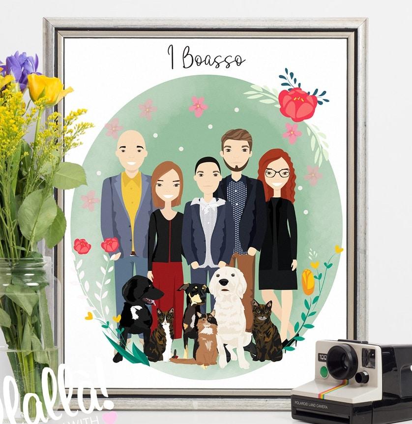Ritratto Digitale Di Famiglia Idea Regalo Anniversario Dei