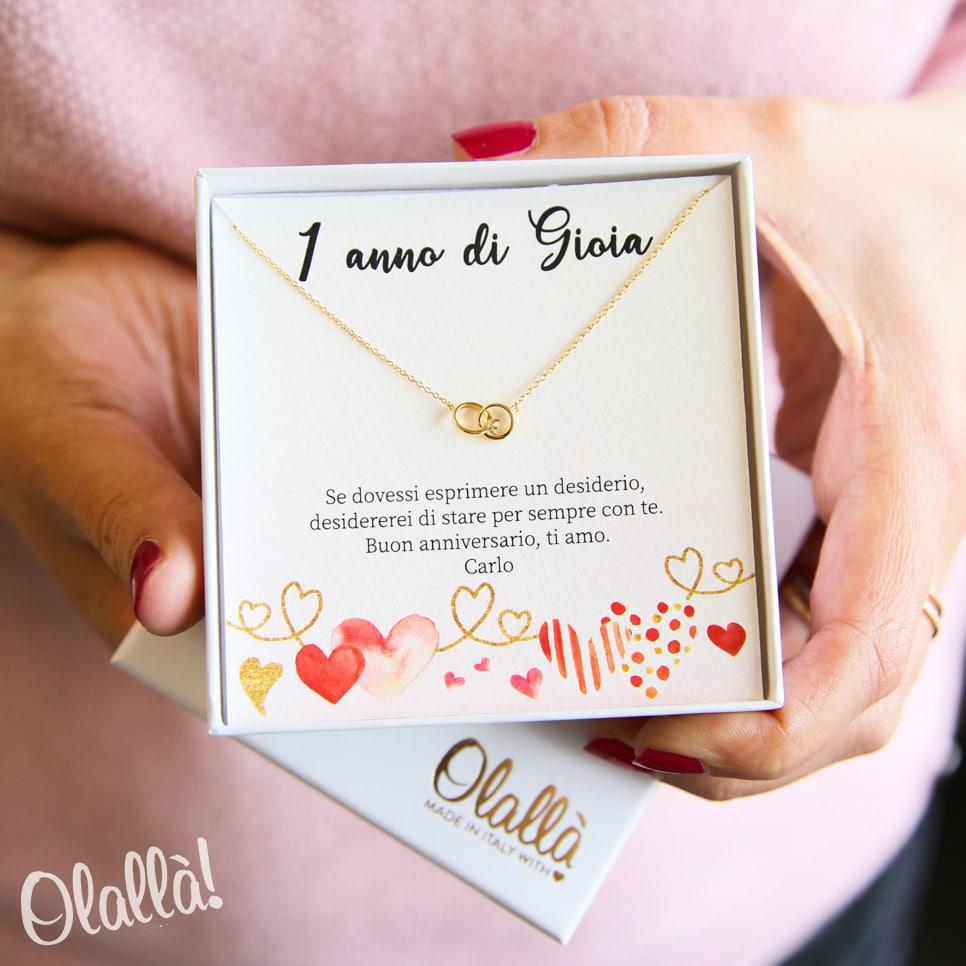 Anniversario Di Matrimonio Un Anno.Collanina Con Anelli Incrociati Swarovski Personalizzata Idea Regalo Primo Anniversario Olalla