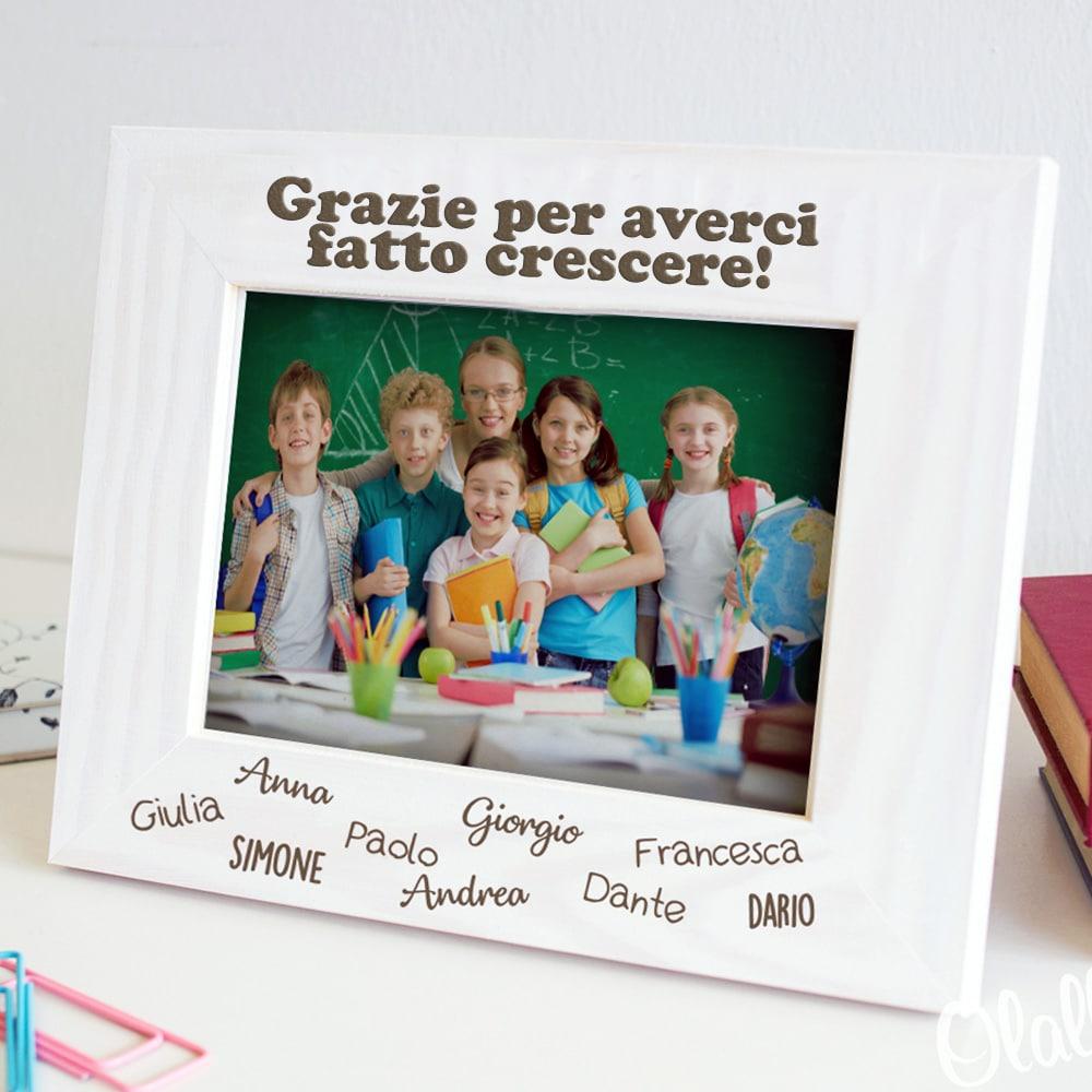 c9ead6f90 Cornice in Legno Personalizzata Grazie Maestra con Nomi dei Bambini | Olalla