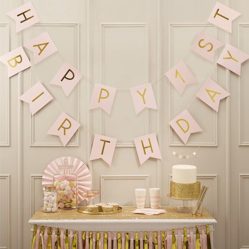 Decorazione-festone-primo-compleanno-rosa