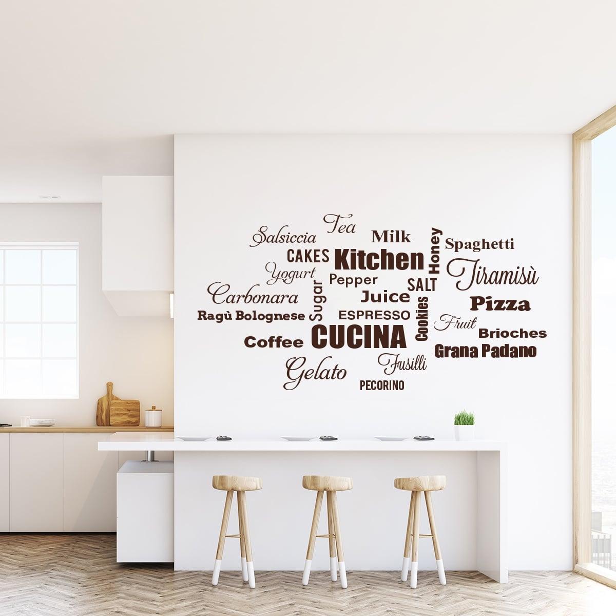 Adesivo Murale Nuvola Di Parole Cibo In Cucina Decorazione Pareti Cucina Olalla