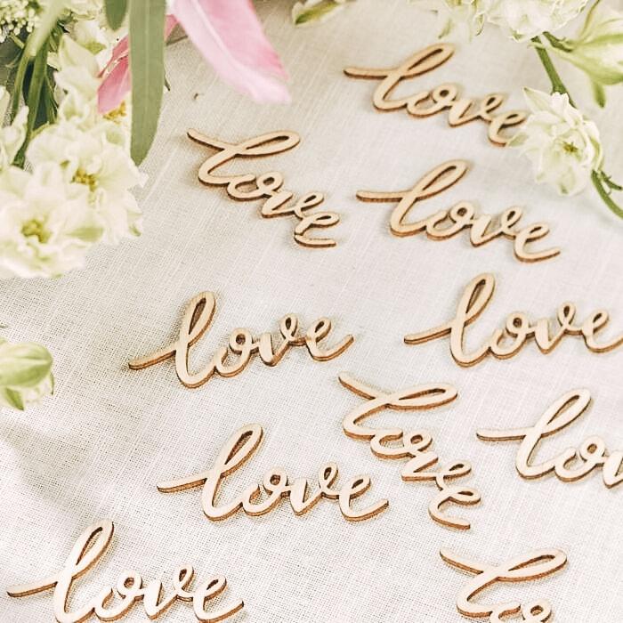 Set Di 25 Decorazioni Da Tavola Love In Legno Decorazione Matrimonio Da Sogno Olalla