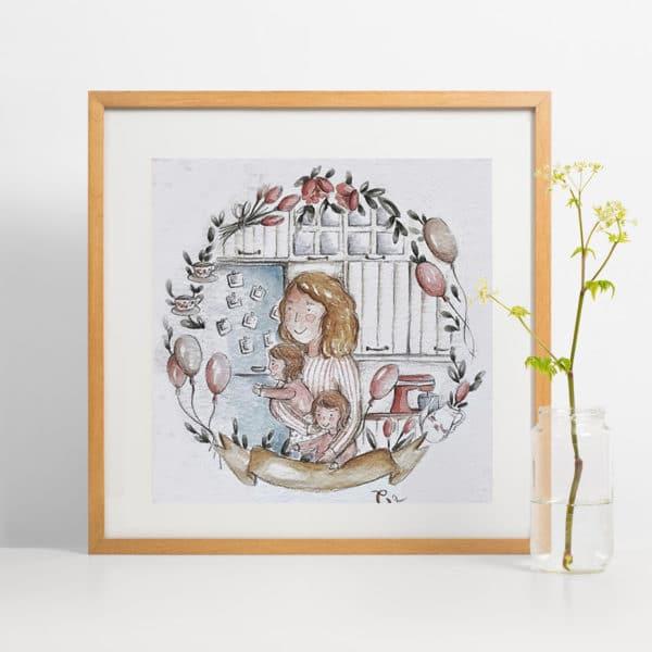 illustrazione-su-misura-acquerello-regalo-mamma