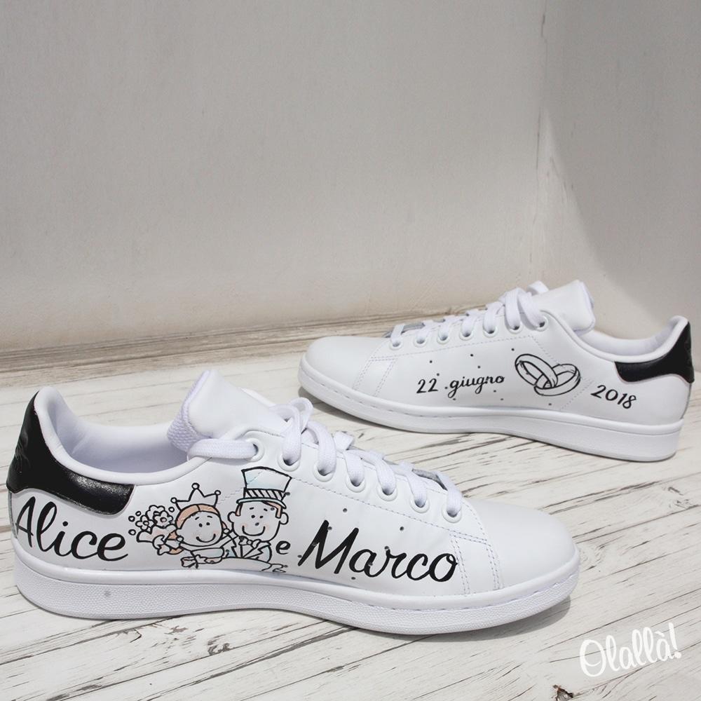 Scarpe Adidas Stan Smith Personalizzate con Disegni e Scritte a Tema Matrimonio Regalo Sposi | Olalla