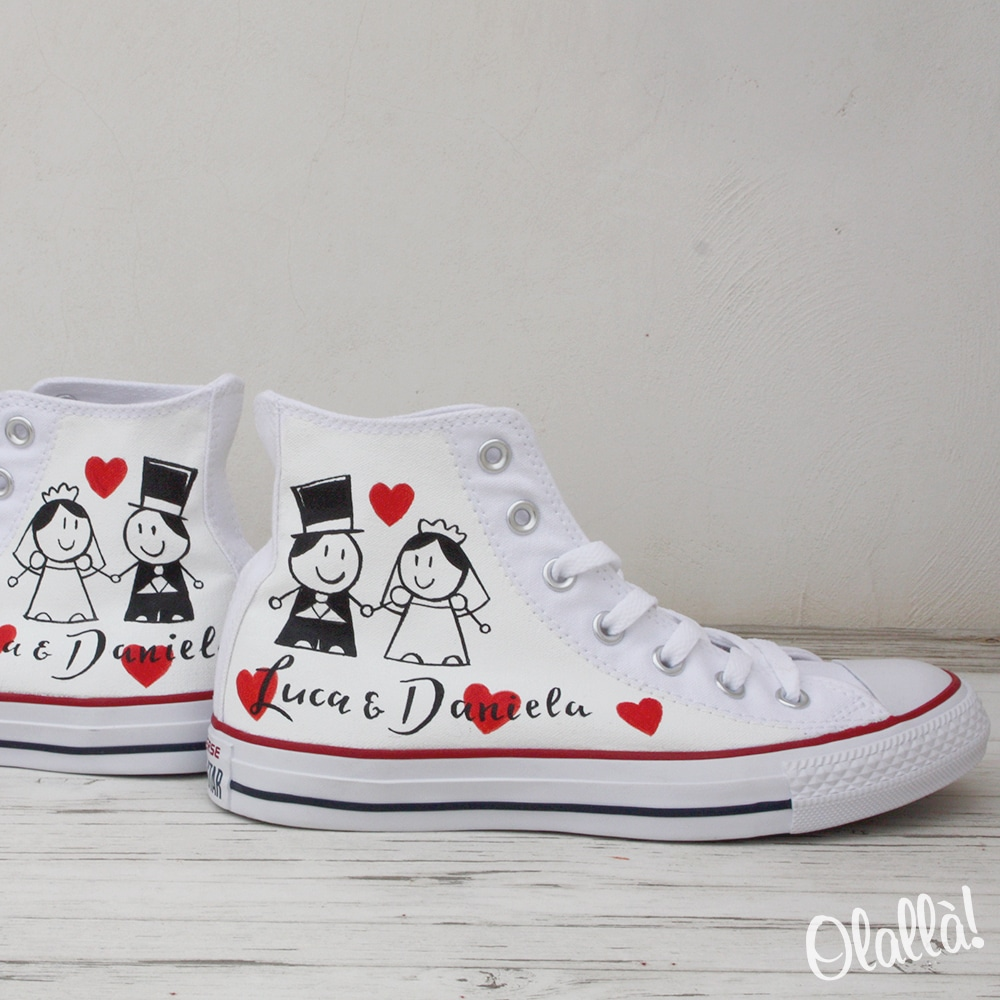 Scarpe Converse All Star Personalizzate con Disegni e Scritte a Tema Matrimonio - Regalo Sposi
