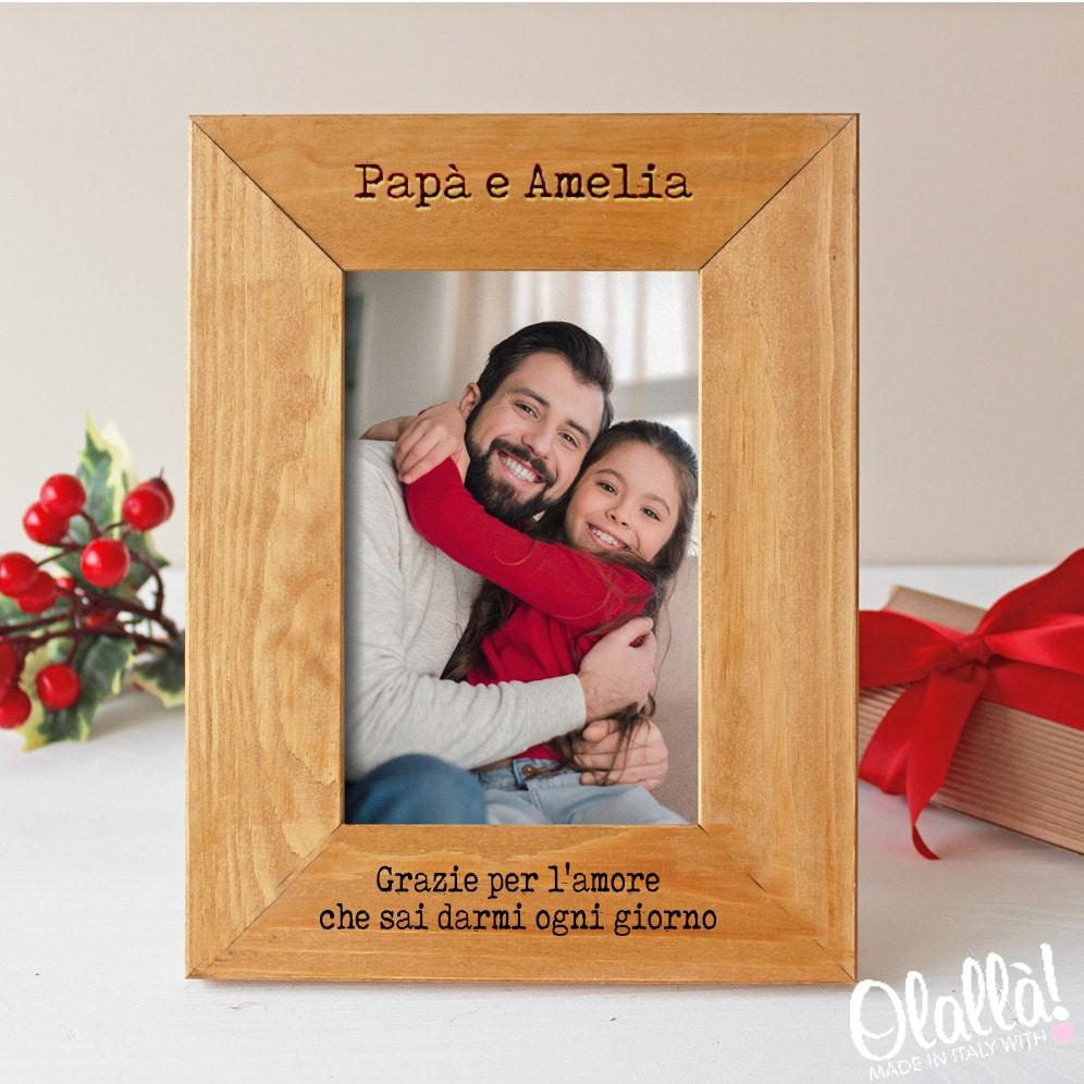"""Cornice di Legno Personalizzata """"Il Nostro Primo Natale Assieme"""