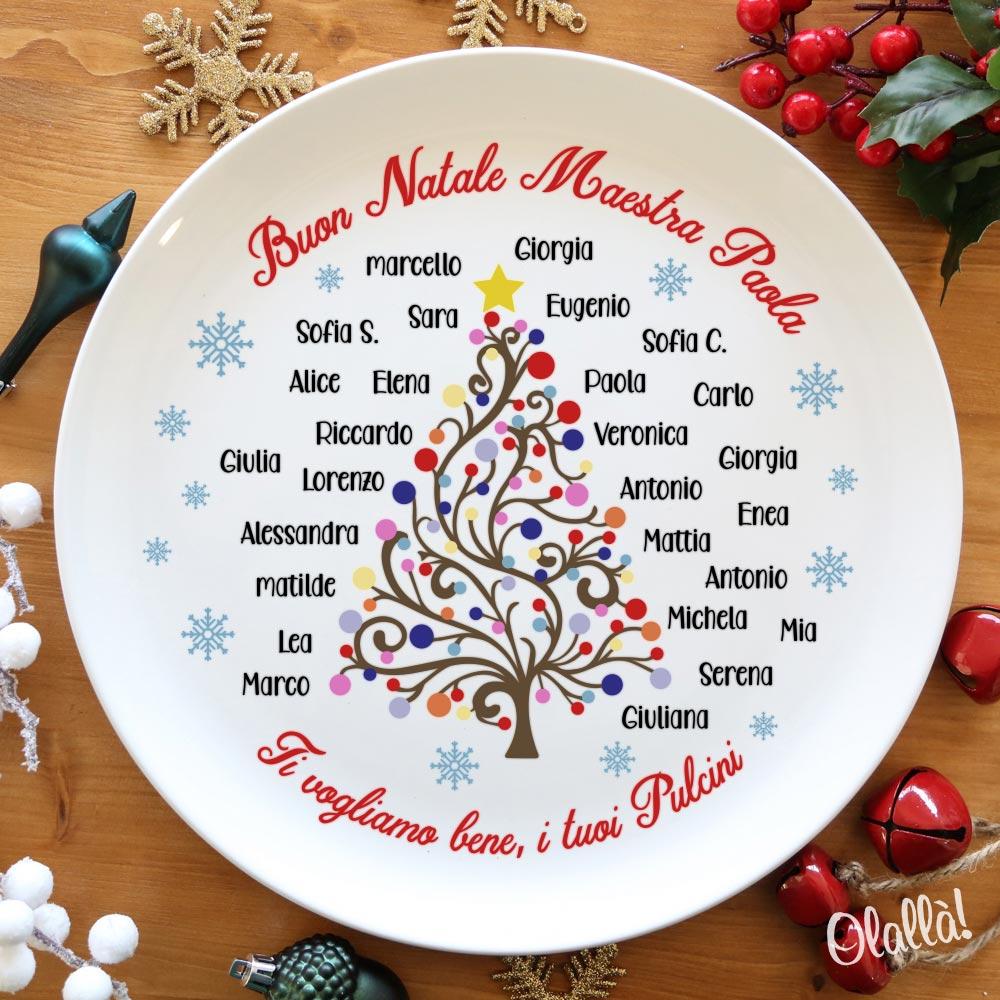 Piatto in Ceramica Personalizzato con Nomi degli Alunni e Albero