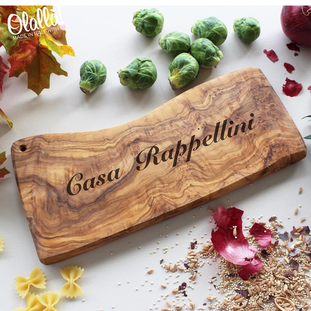 Tagliere in legno d 39 ulivo con frase personalizzata idea for Idee regalo per casa nuova