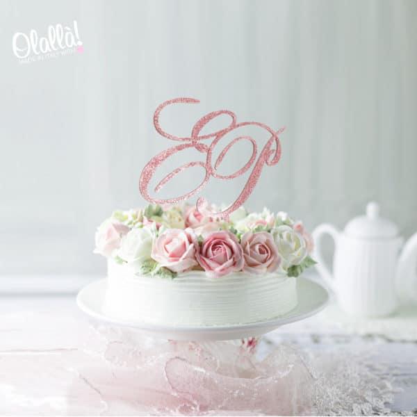 cake-topper-iniziali-eleganti-glitter-rosa