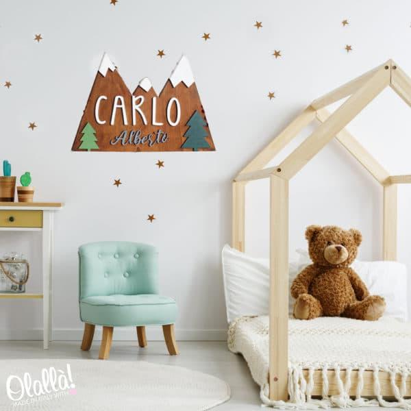 targa-camera-nome-bambino-montagne-innevate-personalizzata