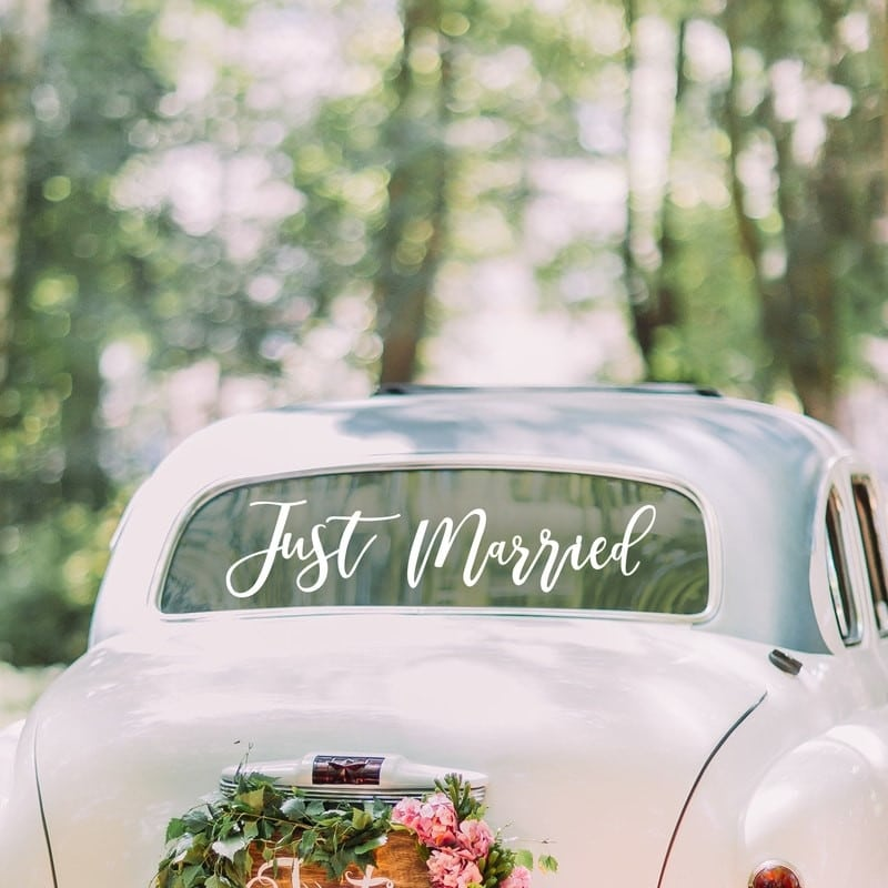 Adesivo-Auto-Scritta-Just-Married