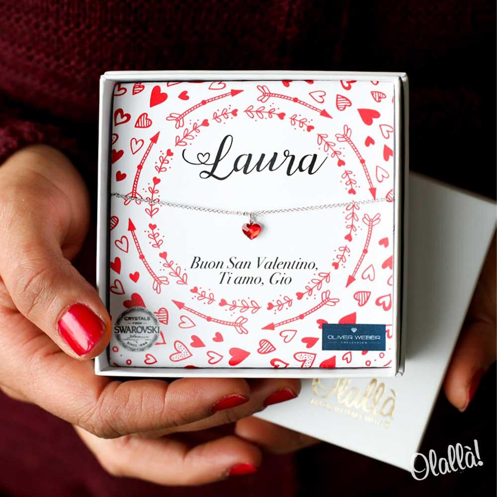 Sorprese San Valentino Per Lei collana con ciondolo cuoricino cristallo rosso o rosè swarovski® oliver  weber - idea regalo per san valentino | olalla