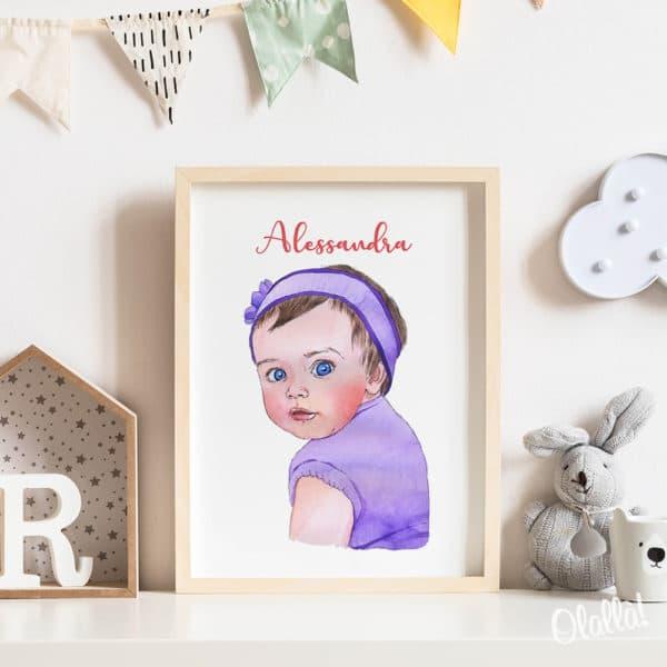 Ritratto-Bambina-Illustrazione-Digitale-Acquerello