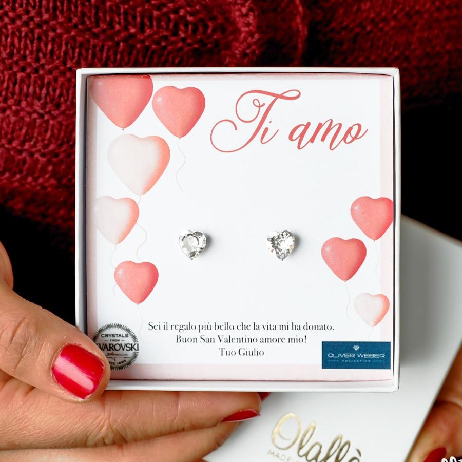 Sorprese San Valentino Per Lei orecchini con cuoricini in cristallo swarovski® oliver weber - idea regalo  per san valentino | olalla