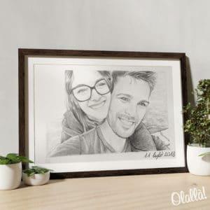 illustrazione-personalizzata-matita-coppia-regalo