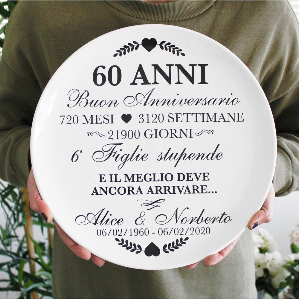Anniversario 60 Anni Matrimonio.Piatto In Ceramica Personalizzato Con La Vostra Storia D Amore