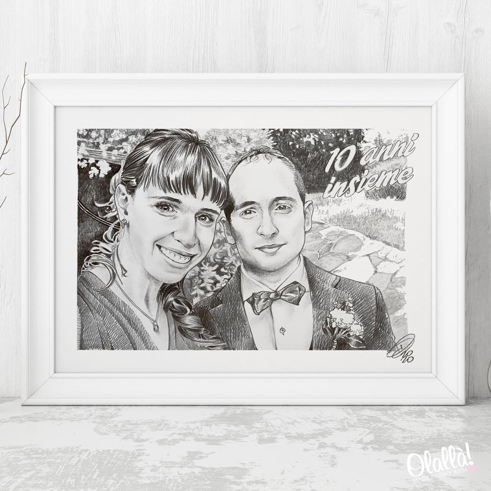 dipinto-sposi-anniversario-matita-bianco-nero-acquerello-su-misura