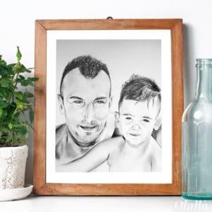 ritratto-matita-personalizzato-papa-figlio