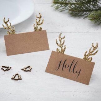 segnaposto-natalizio-testa-cervo-corna-dorate