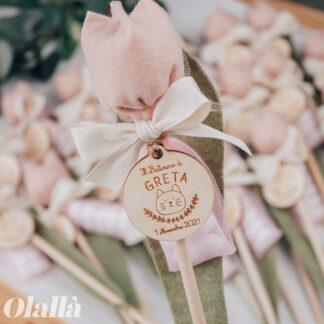 tulipani-bomboniera-fiori-tessuto-personalizzati-battesimo-rosa-gattino